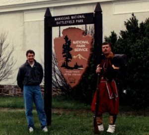 Me, Bull Run (Manassas, VA) Battlefield, and Zouave Reenactor (April 22, 1990)